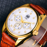men with oem cheap high fashion branded brown genuine leather strap quartz watch