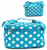 Customizable Allover Blue Polka Dot Cotton Quilted Toiletry Case with Tote Handle for Women