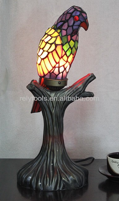 raven real stained glass tiffany style lamp