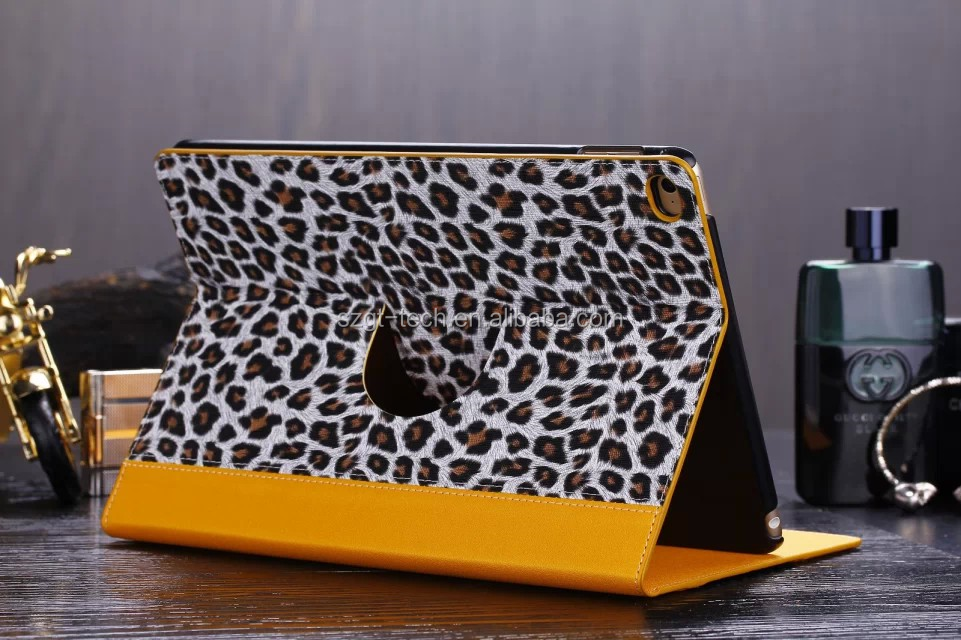 Smart cover For iPad Air 2 Case Leopard Grain Luxury Stand 360 rotate