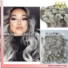 alibaba express wholesale gray colored brazillian body wave clip in hair extensions