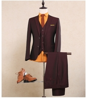 Wine Red Wool Shine Mans Business Suit Smoking Casamento Customized Grooms Wedding Suit (Coat+Pants+Vest) NA07 Burgundy Suit