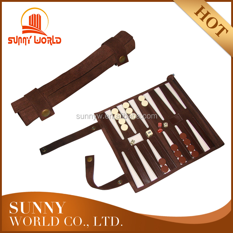 Rolled up Backgammon set in leather