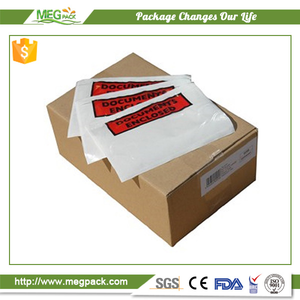 Custom manufacturer plastic packing list clear envelope