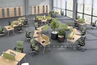 Green Ergonomic Open Office Workstation