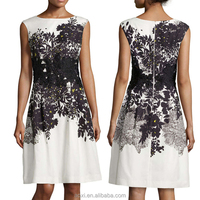 China OEM online supplying floral embroidered applique A-line cocktail dress for ladies prom wearing