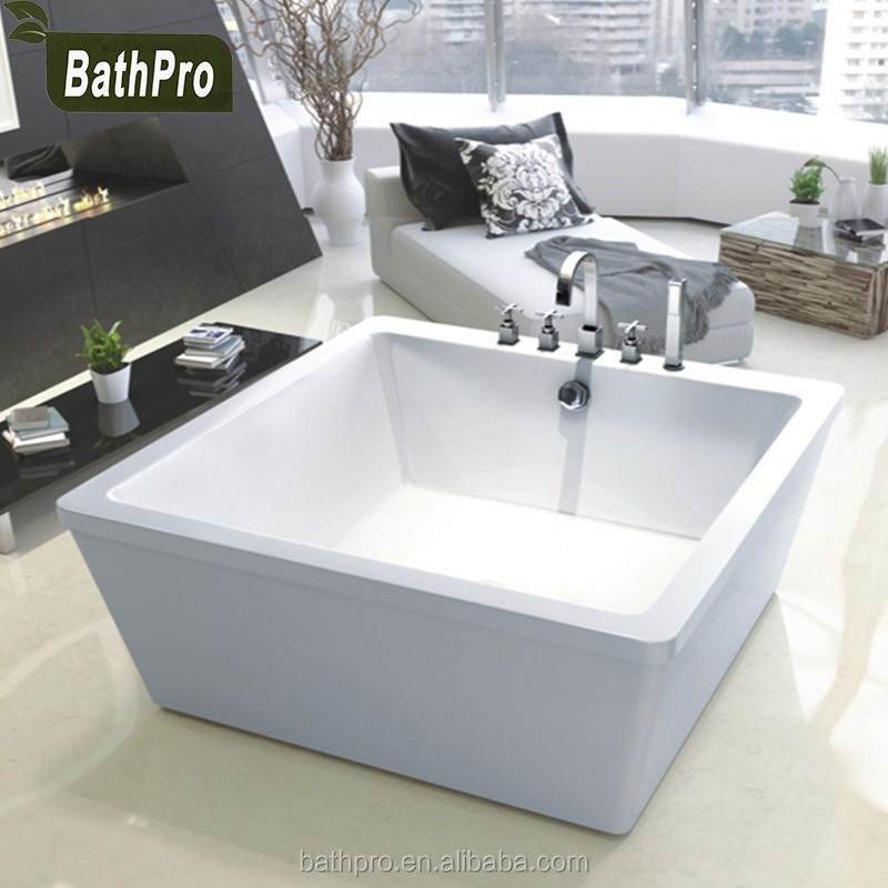 Eco-Friendly Feature one-piece square small size acrylic freestanding bathtub