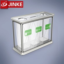 JINKE 2016 New Arrival!! Paper, Bottle Recycle Bin/ Glass Trash Receptacle Can for Airport