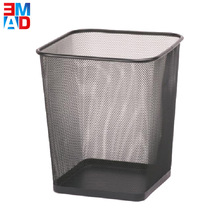 Office balck rectangle waste bins square metal wire mesh paper basket