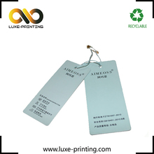 Custom design offset printing paper garment hang tag with string and safty pin