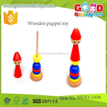 good quality wooden tops towers OEM educational wooden puppet toy MDD-1038