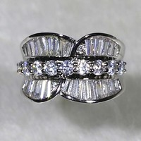 "NYR0792 FANCY!!! 11pcs Round and 26pcs ""T"" Shape Unique Wedding Band Micro Cubic Zirconia Pave Ring Size6#/7#/8#/9#Available"