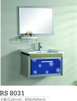 Simple pvc high quality laundry cabinet/bathroom furniture cabinet set with mirror