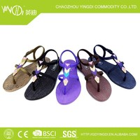 2014 Pvc plastic , cloth candy color jelly shoes women in women 's sandals upper shape diamond