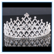 Luxury crystal rhinestone ceremony tall pageant crown Adjustable big beauty brial tiara