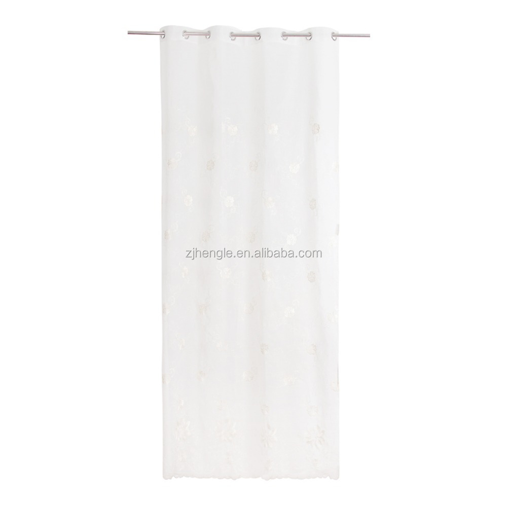 American style sheer doris embroidered polyester fabric for kitchen curtain