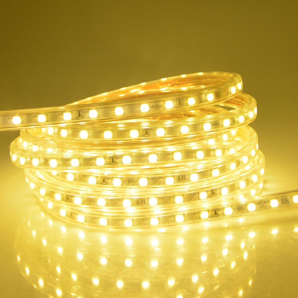 STL IP67 Waterproof 1M-25M Silicone tube AC 220V LED Strip SMD5050 Flexible Lights 60leds/m LED String Light with EU Plug