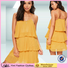summer popular fashion yellow pleated layered swing dresses for women