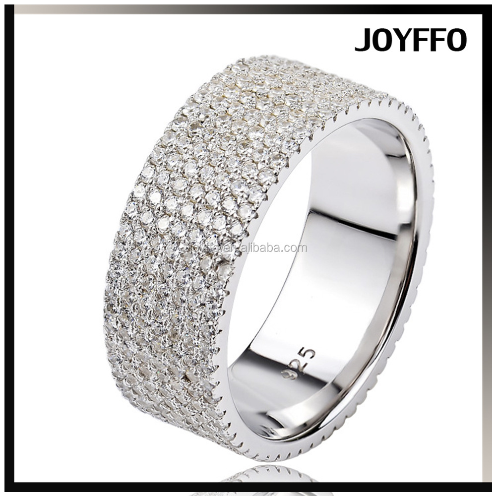wholesale luxurious wedding jewelry 7 lines diamond S925 pure silver ring