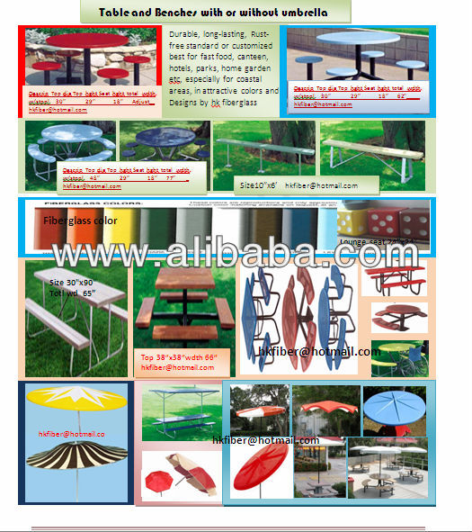 Fiberglass Table and Benches with/without umbrella