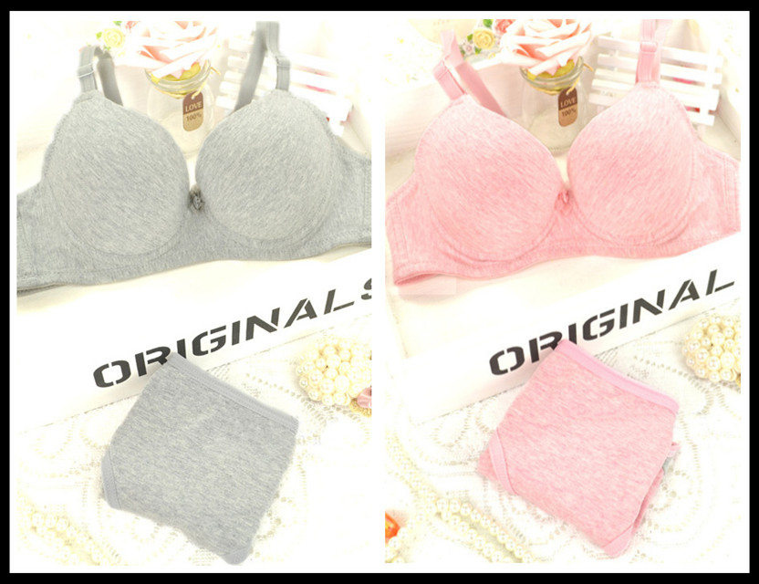 Fashion sports bra 100% cotton sexy young ladies girls underwear bra set