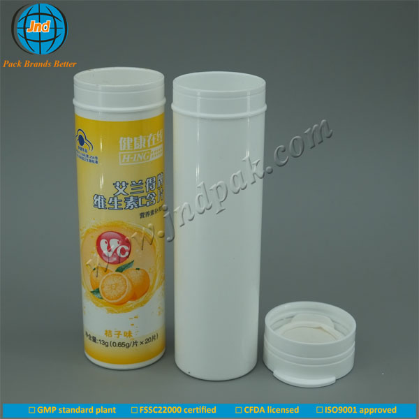 Plastic food grade tablet tube with pop top cap and dessicant with FSSC22000 certified by GMP standard plant