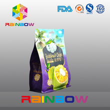 Packaging bag with euro slot for dried pineappl block bottom plastic bags