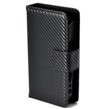 Carbon Brush Pattern Stylish Leather Case for Electronic Cigarette Iqos