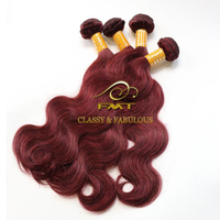 Brazilian Human Hair Weave 99j Color Body Wave Red Braiding Hair Extension