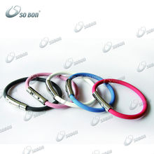 Wholesale manufacturing arc-shaped snap fastener energy negative ion sports silicone bracelet wristband multicolor option