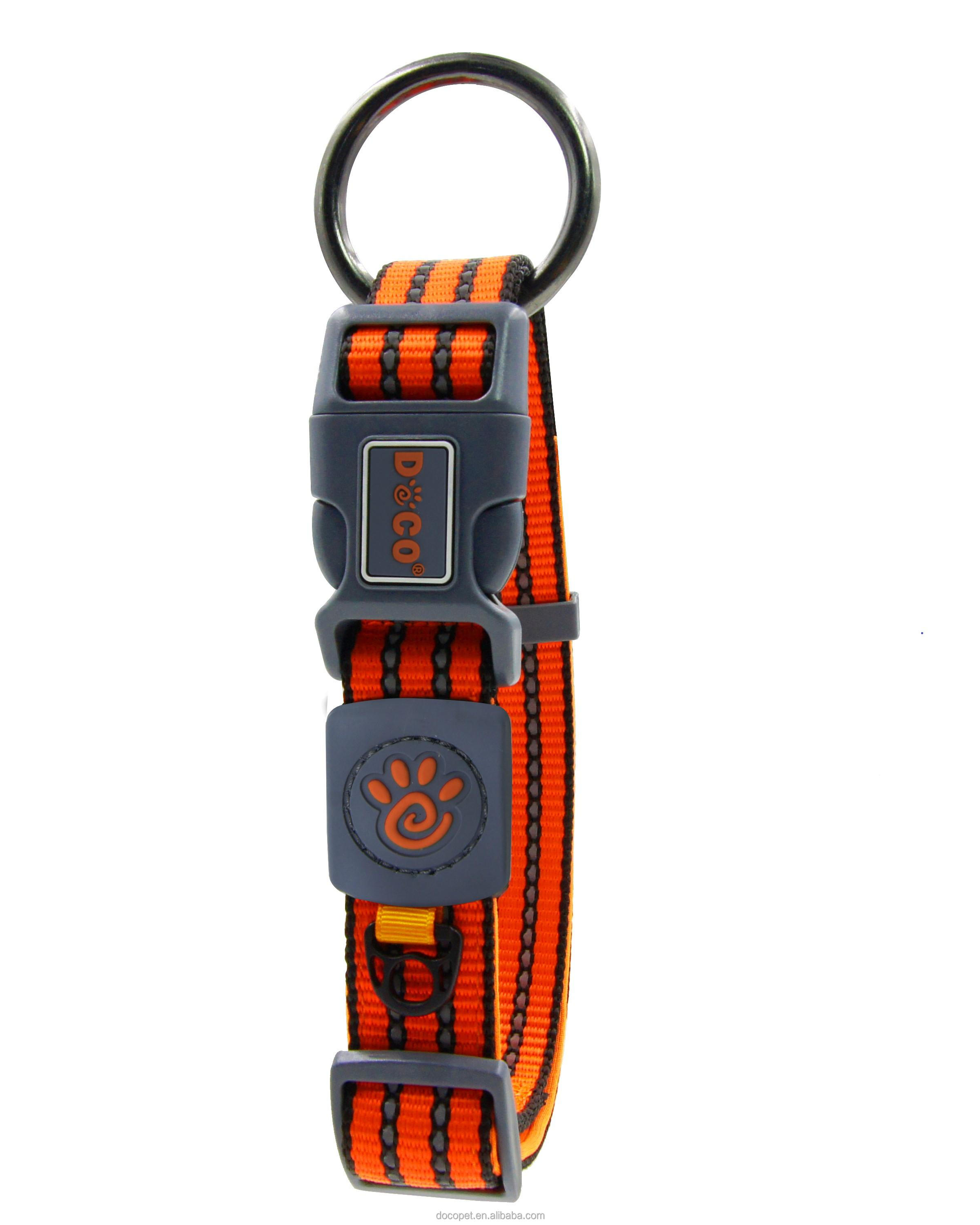 Soft comfortable high quality reflective dog collar nylon with Night Time Safety function Large Orange