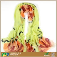 High Grade 100% Wool Hand Printed Scarf Wraps Cashmere Shawls For Women