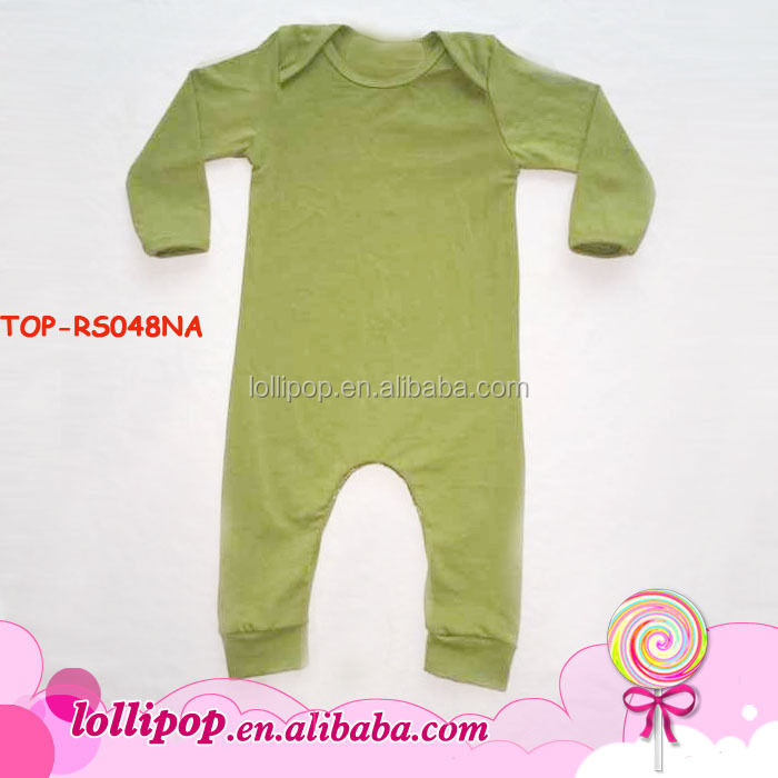 2016 New arrival plain olive green infant bodysuit organic cotton long sleeve long leg baby rompers baby clothes clothing yiwu