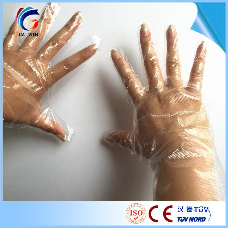 transparent disposable ldpe glove shoulder length disposable pe goves plastic disposable glove hospital use