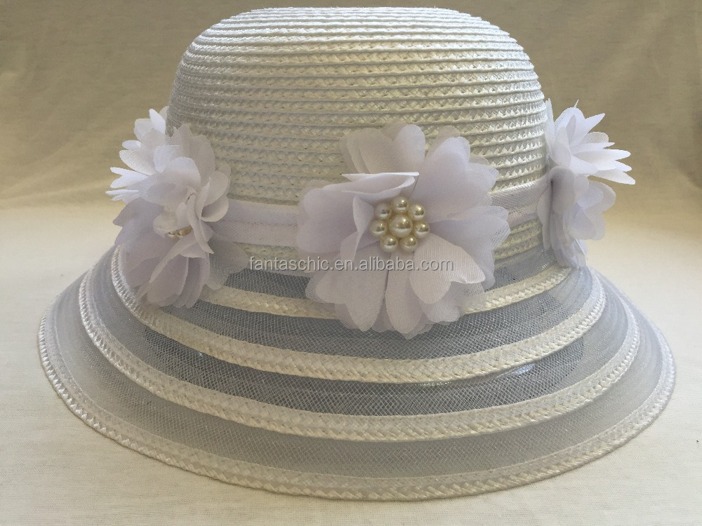 Sweet girls pp braid summer beach hat flower pearl decoration