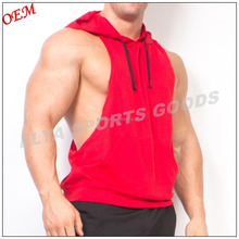 100% Polyester Men Sport Wear Fitness Bodybuilding Stringer Tank Top Sleeveless Hoody