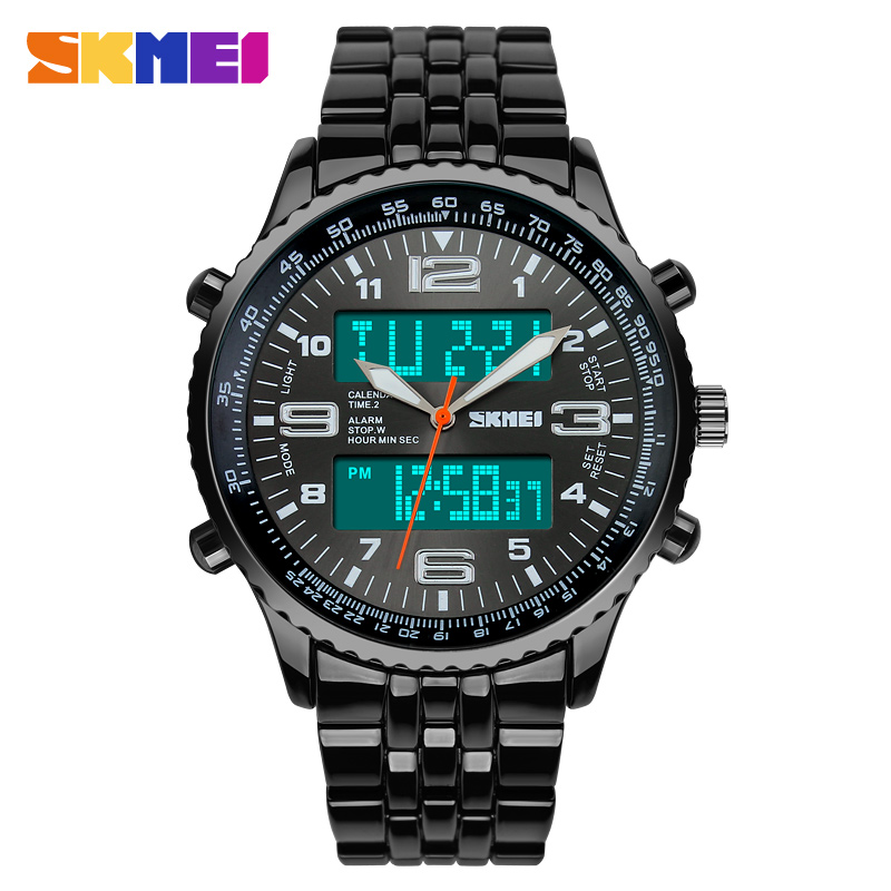 Skmei 1032 Man Watch Full Stainless Steel Strap 3ATM Waterproof Digital <strong>Date</strong> Displaying Military Army Watches Men Analog Watch