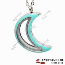 New Arrival Fashion 316L Stainless Steel Enamel Moon Living Glass Locket