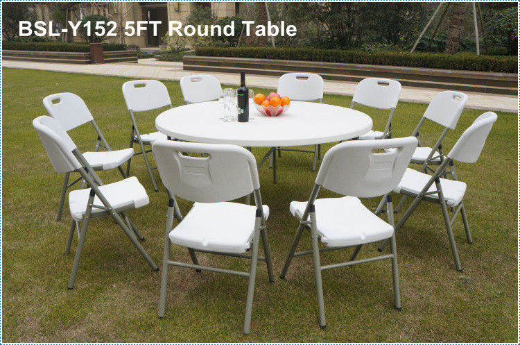 Hot sale 5FT plastic round folding table for banquet/picnic/camping/dining/garden