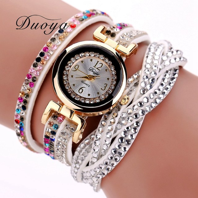 Duoya Fashion Women Dress Watch Luxury Crystal Gold Bracelet Popular Leather Wristwatch Casual Women Girl Quartz Watch XR1941