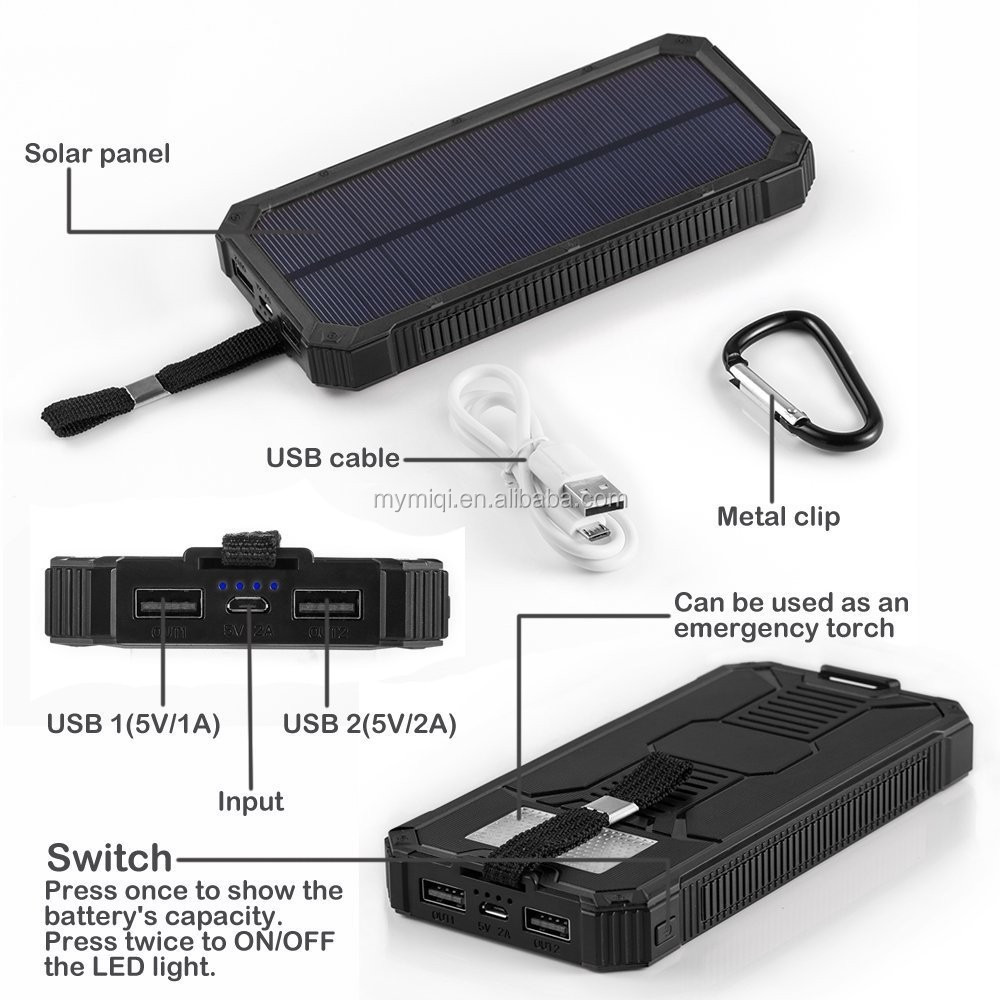 portable phone charger 10000mah led torch solar cell power bank for traveling