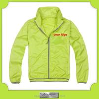 single layer light weight rain polyester jacket foldable