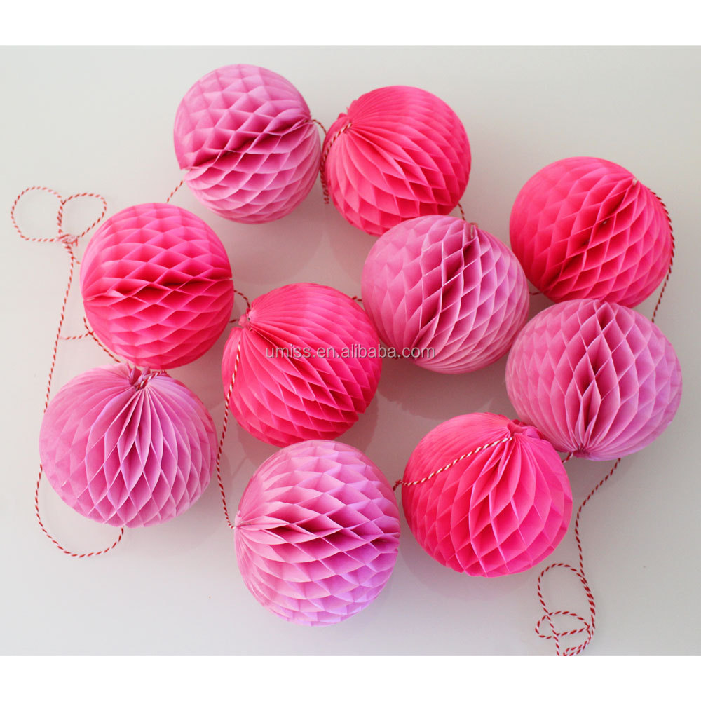 Party Decoration Decorative Hanging Tissue Paper 10 Honeycomb Balls Garland in in Pink Fuchsia string for wedding elegant decor