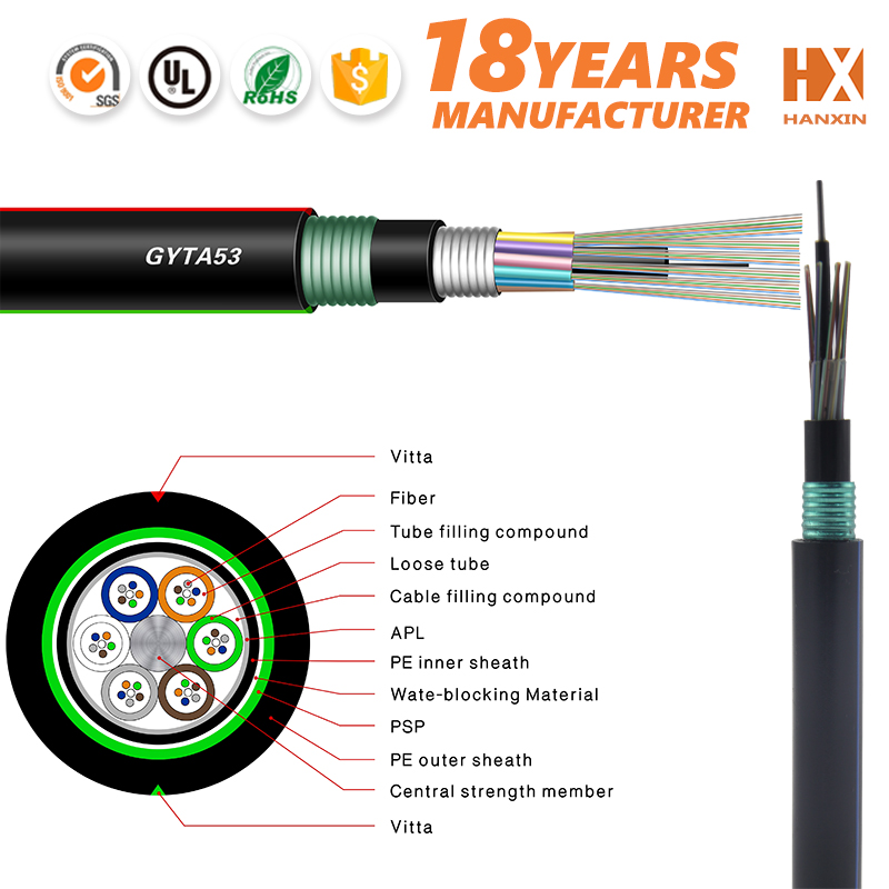 outdoor armoured optical fiber telephone cable color code GYFTY53