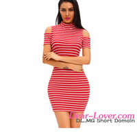 New Design Wholesale Shoulder-revealing Crew Neck White Red Stripe Women Dresses