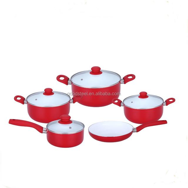 MSF-6266- Alum ceramic non stick cookware set composition 18cm saucepan 20cm 24cm 28cm casserole 24cm frypan 9pcs cookware set