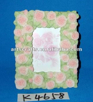 Polyresin photo frame with flowers