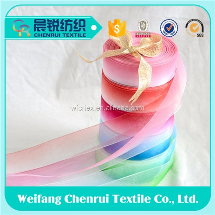 Garments accessories decoration For Printed organza rosette ribbon