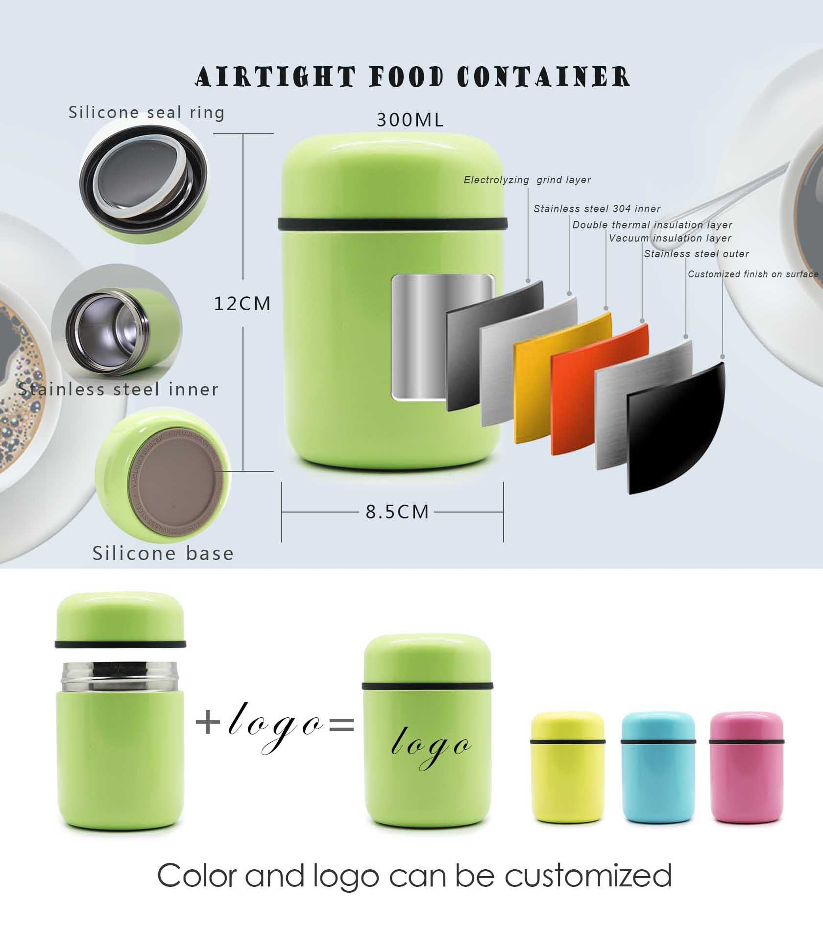 colored new food safe vacuum insulated stainless steel 10-ounce food jar