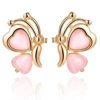 Fashion pink 18k white gold plated stud earrings austria rose gold crystal butterfly earrings wholesale